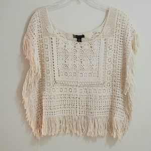 Passport Crochet Fringe Crop Top, Ecru, Sz M